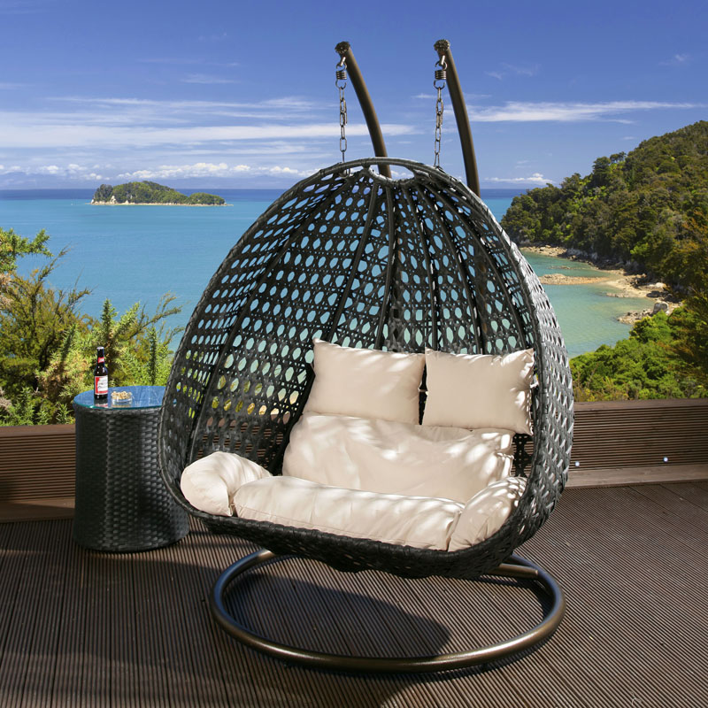 rattan swing chair nz oversized leather and ottoman 2 seater garden swing/hanging black cream cushion, frame   ebay