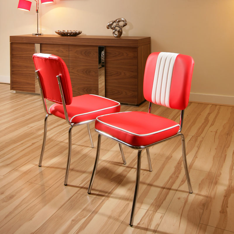 Set of 2 x American 50s Diner Style Dining ChairsChair