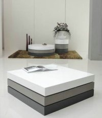 Modern Square White/Grey Gloss Coffee Table Rotating with ...