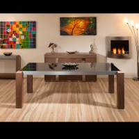 Large Walnut / Glass Rectangular Coffee Table Modern ...