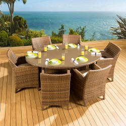 dining luxury outdoor rattan table oval chairs garden brown huge hover enlarge