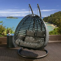 Outdoor 2 Person Garden Hanging Chair Black Rattan Grey ...