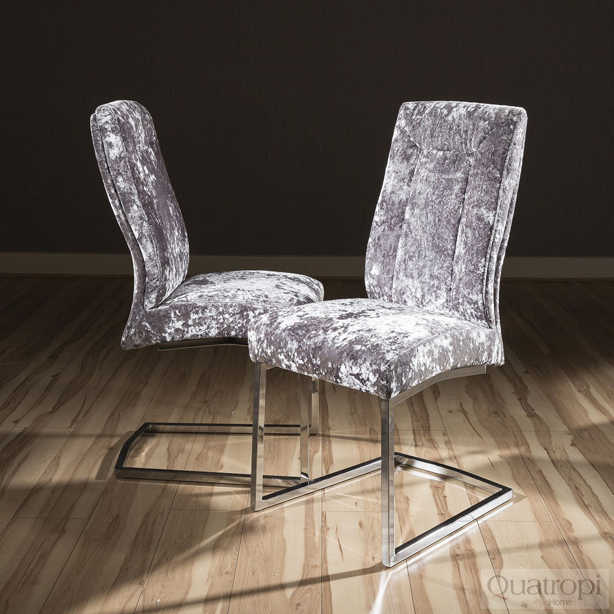 crushed velvet chair shaker ladder back set of 2 large super comfy modern dining chairs silver