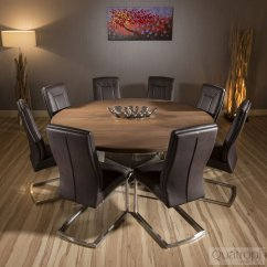 Large Round Oak Dining Table 8 Chairs Old Chair Covers Hire 1 8mtr Dark Brown 43 Comfy