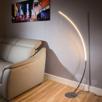 Beautiful Modern polished Chrome Led curved floor lamp ...
