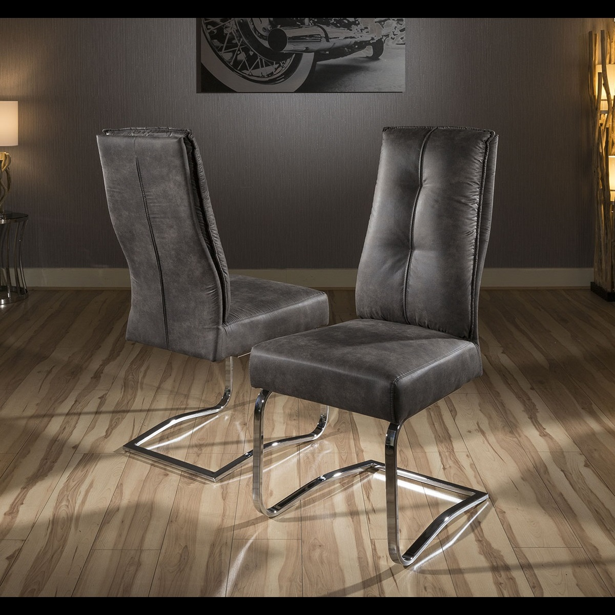 Super Comfy Chair Set Of 2 Large Padded Super Comfy Leather Dining Chairs