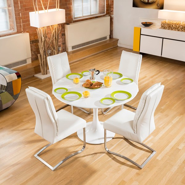 Tulip Style Dining Table White Gloss 4