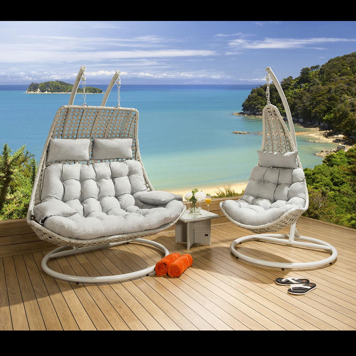 hanging garden pod chair uk armchair sleeves luxury outdoor modern stone grey