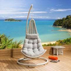 Hanging Chair Luxury Reclining Outdoor Modern Garden Pod Stone Grey