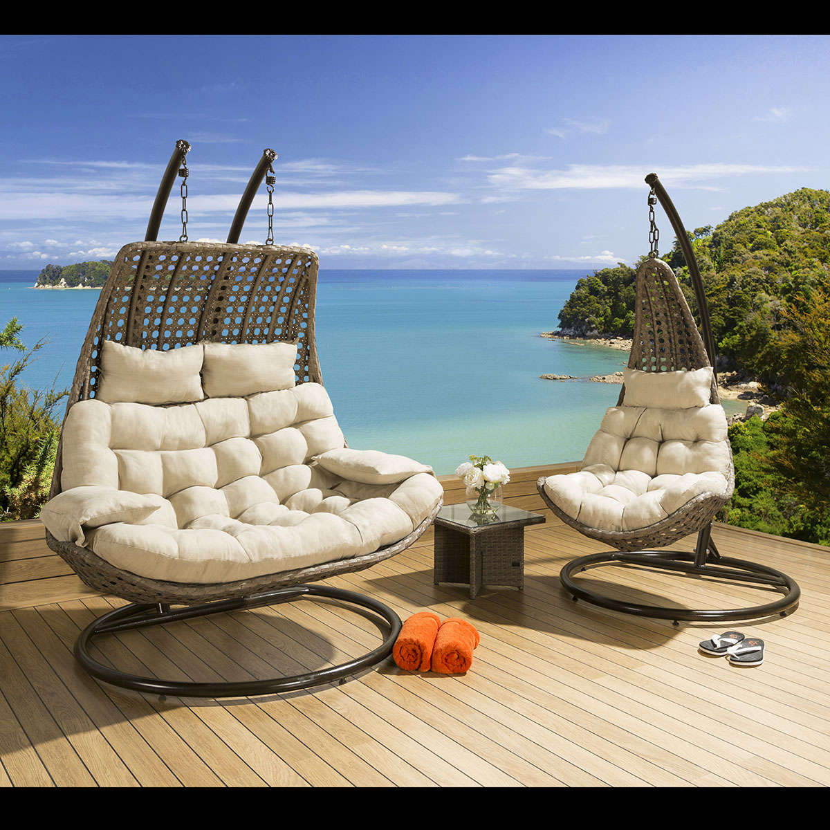 hanging chair mr price covers direct from china outdoor rattan 2 person garden sunbed