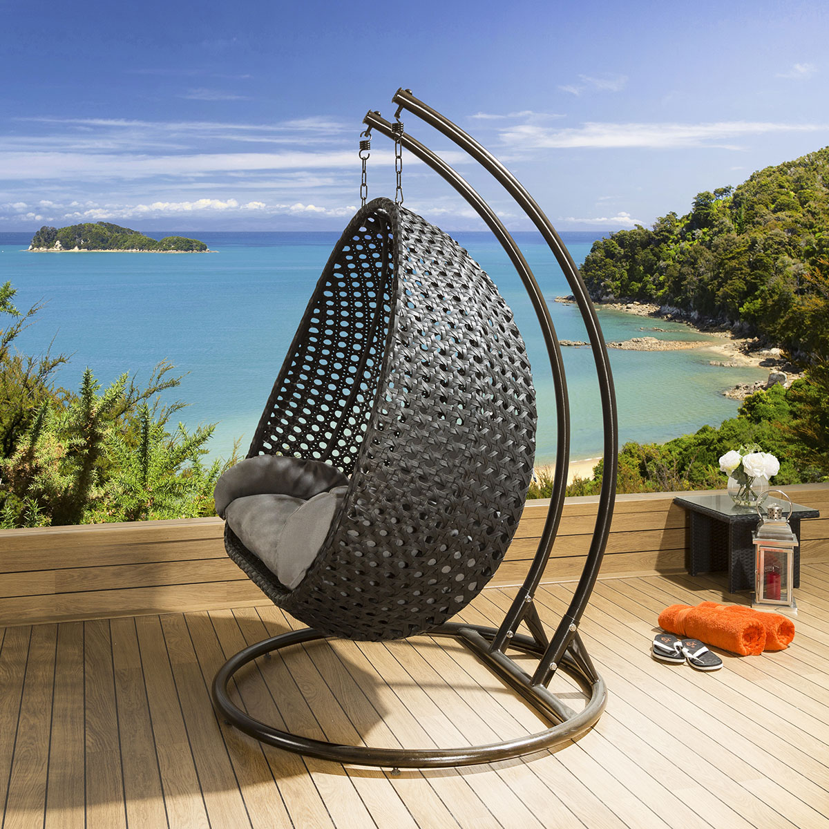 hanging chair luxury covers silver outdoor 2 person garden black grey