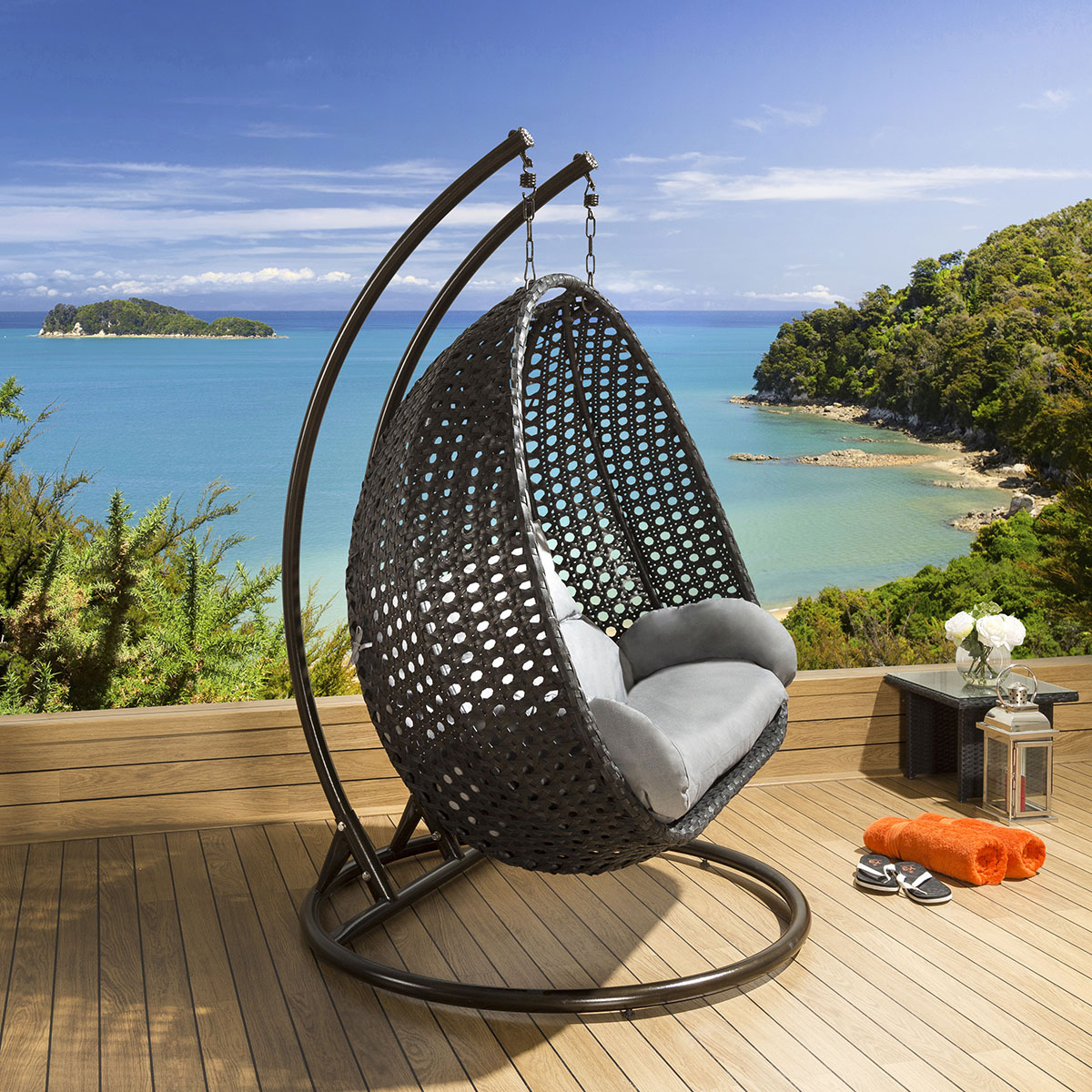 hanging chair luxury oversized leather outdoor 2 person garden black grey