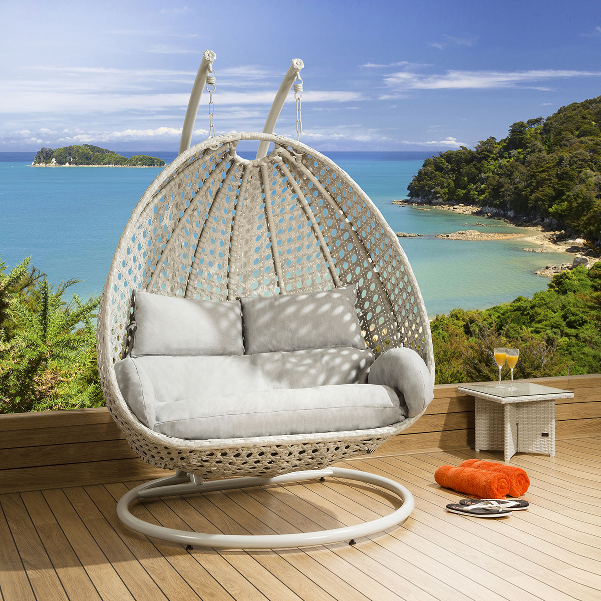Double Egg Chair Garden Double Hanging Egg Chair In Light Grey Stone Heavy Duty