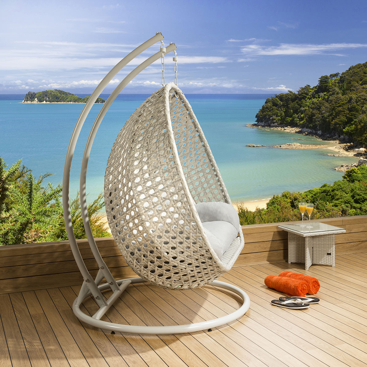hanging garden pod chair uk power lift chairs luxury outdoor 2 person swing