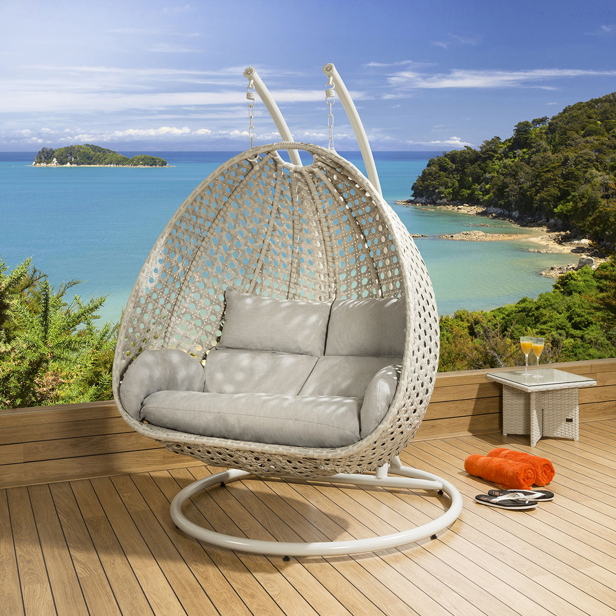 Pod Hanging Chair Luxury Outdoor 2 Person Garden Pod Hanging Chair Swing