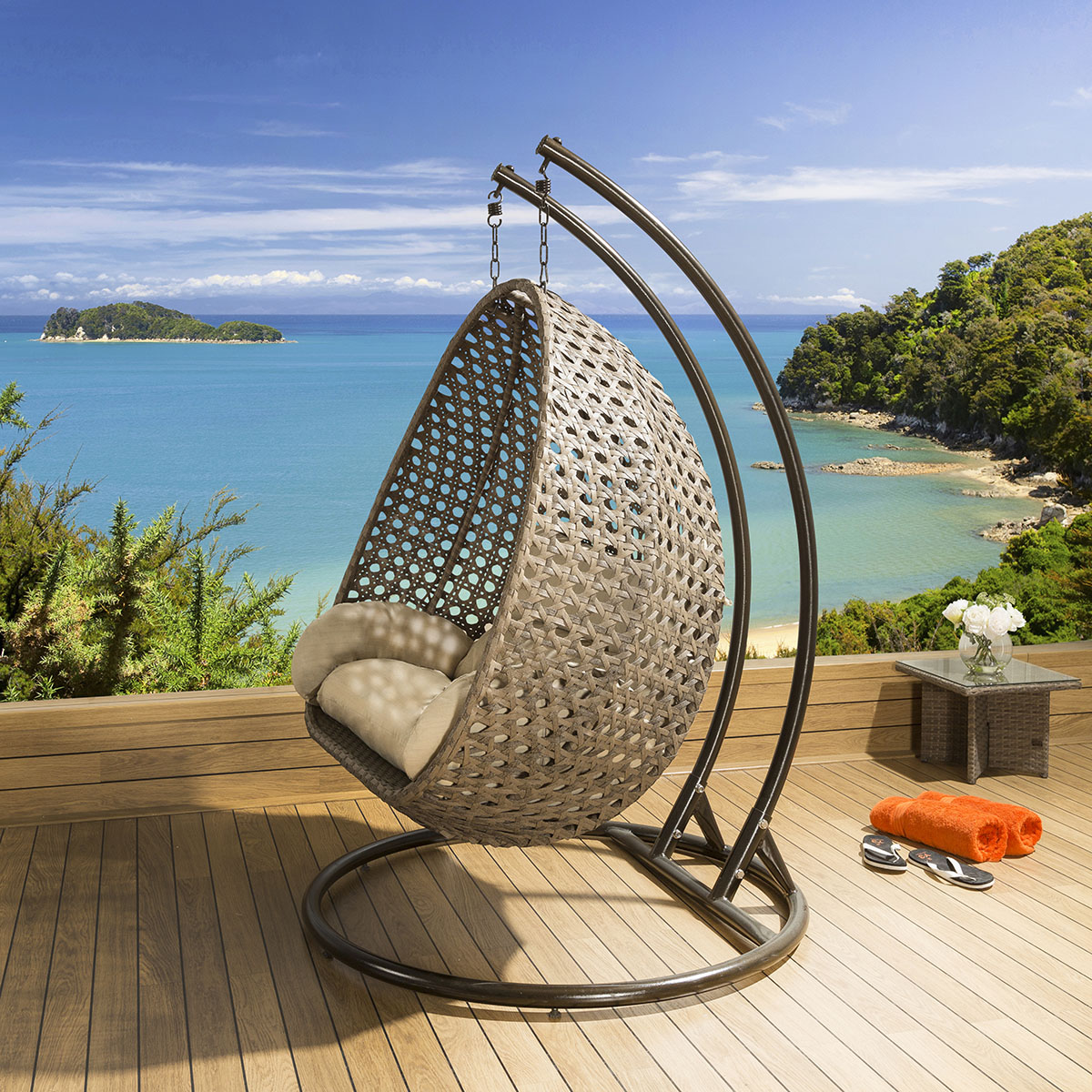 hanging chair luxury fabric for chairs outdoor 2 person garden brown beige