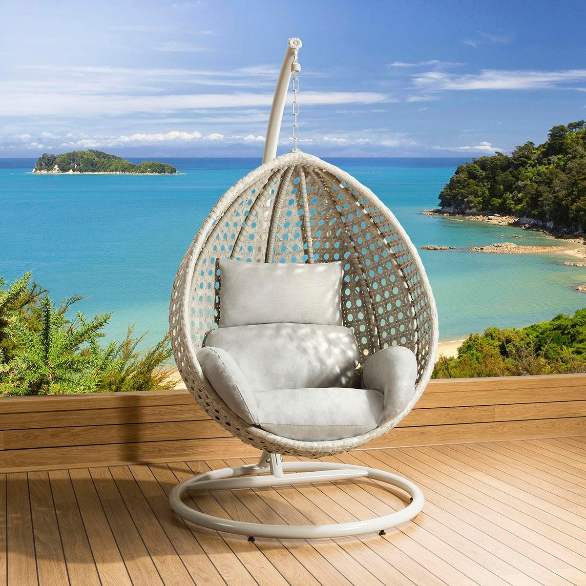 Cocoon Chair Luxury Outdoor Garden Suspended Egg Pod Cocoon Chair Stone