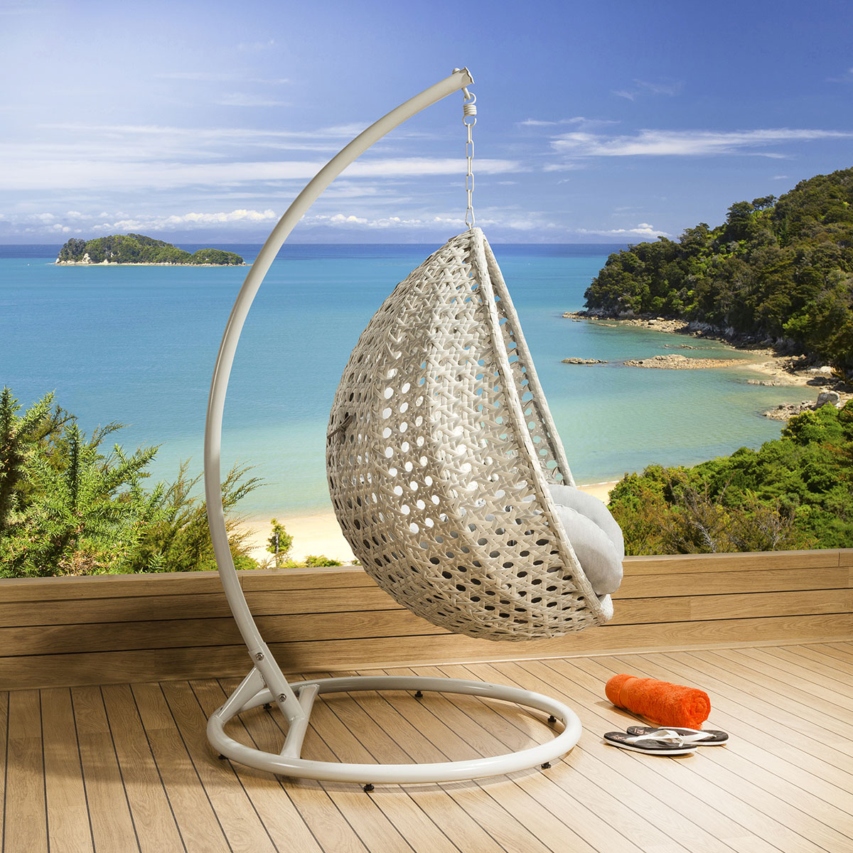garden egg chair covers eames sale luxury outdoor suspended pod cocoon stone