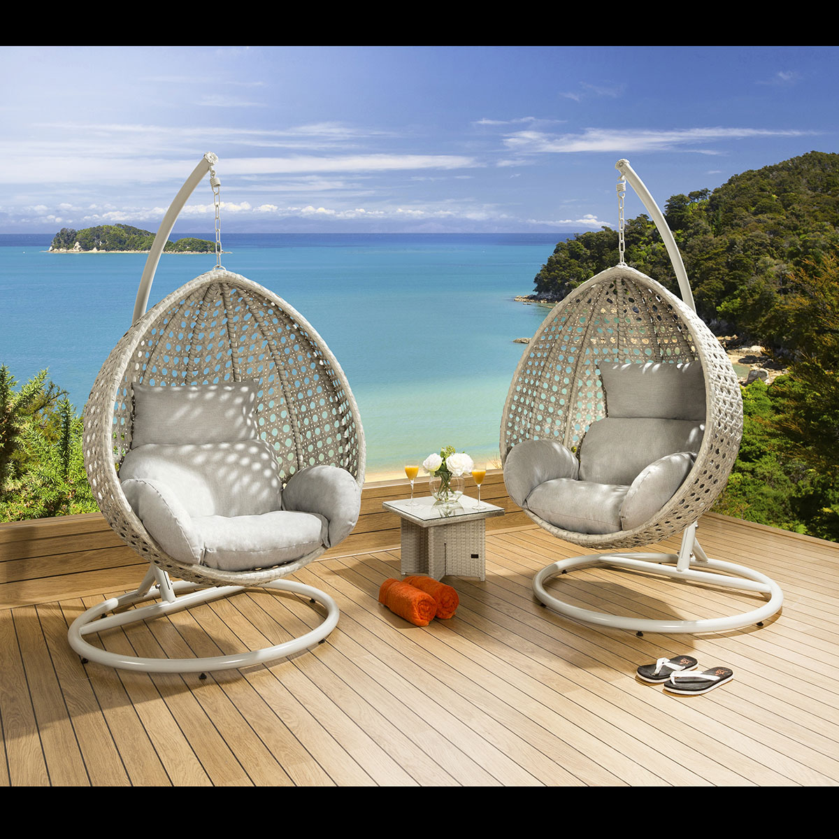 Hanging Egg Pod Chair Luxury Outdoor Garden Suspended Egg Pod Cocoon Chair Stone