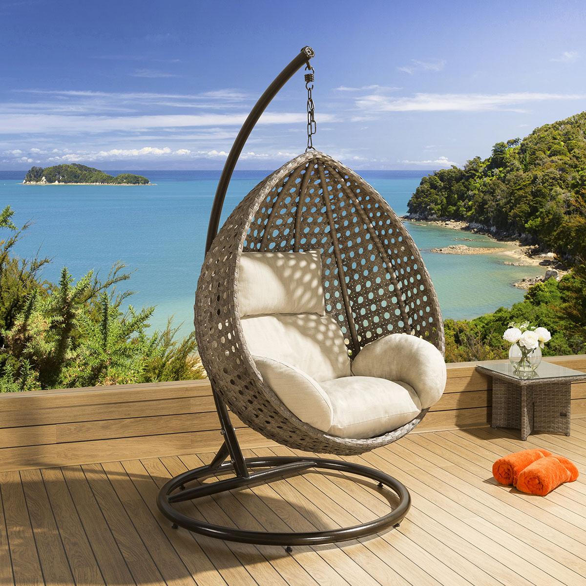 hanging chair luxury square waffle bungee outdoor garden mocha rattan beige