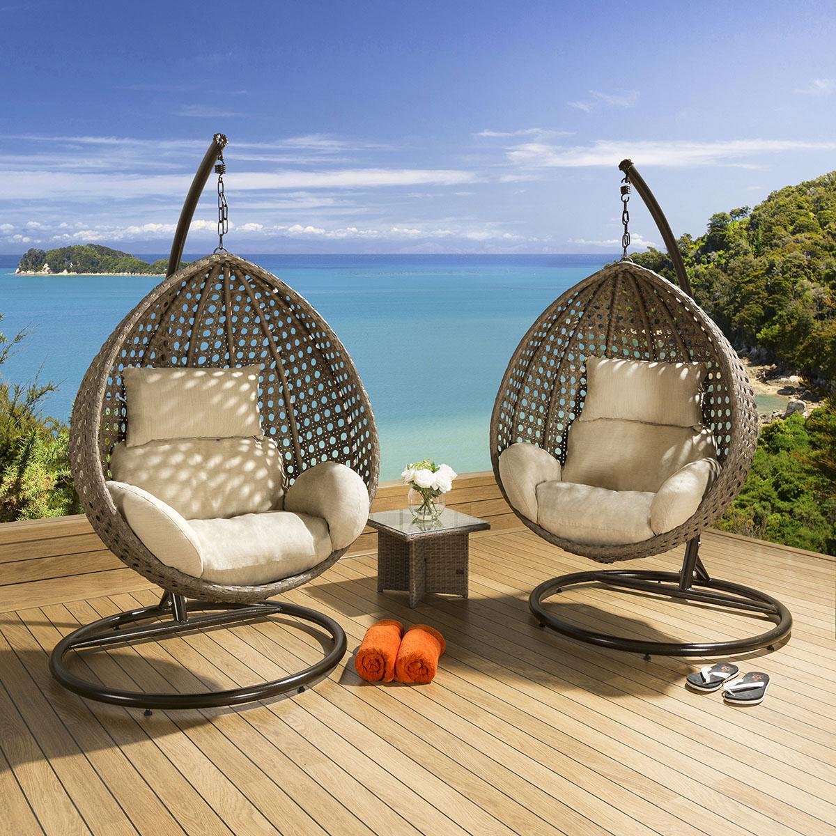 hanging garden pod chair uk office desk and luxury outdoor mocha rattan beige cushion