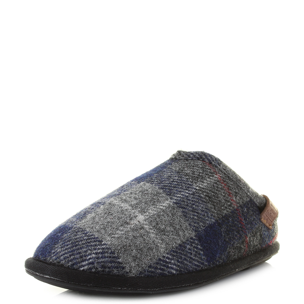 Mens Bedroom Athletics Harris Tweed William Navy Black