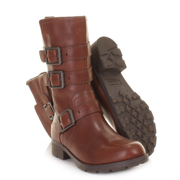 Clarks Womens Ankle Boots National Sugar Brown Leather Calf Size 5-10