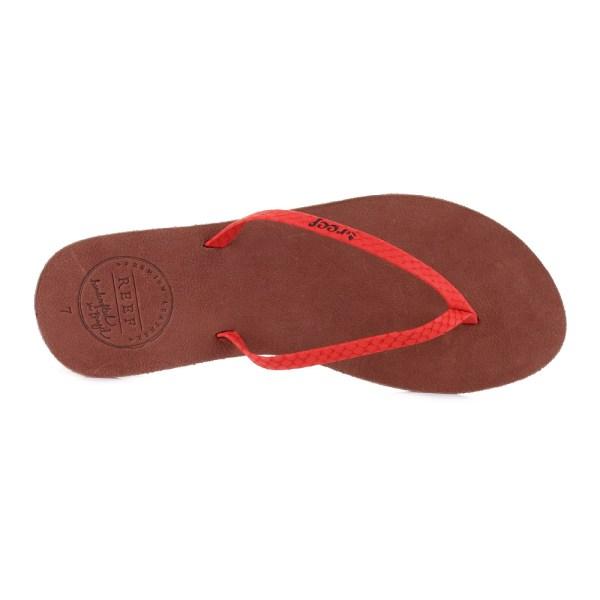 Womens Reef Leather Uptown Luxe Red Brown Slim Elegant