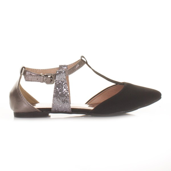 Womens Flat T Bar Black Pewter Pointed Toe Ladies Sandals Shoes Size 3-8