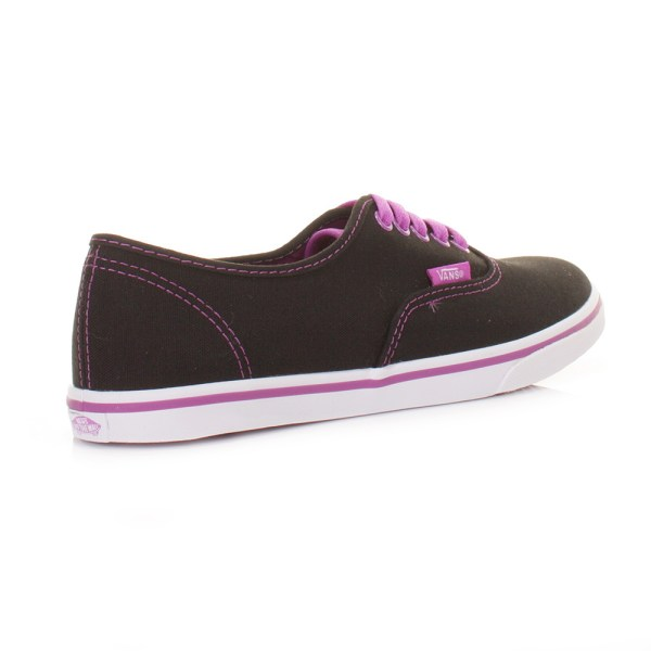 Womens Vans Authentic Lo Pro Black Neon Purple Ladies