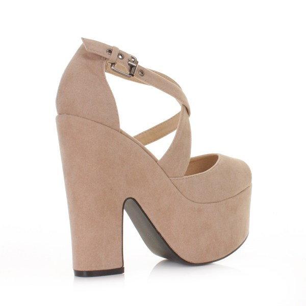 WOMENS BEIGE NUDE SUEDE STYLE CUT OUT PLATFORM HIGH HEEL
