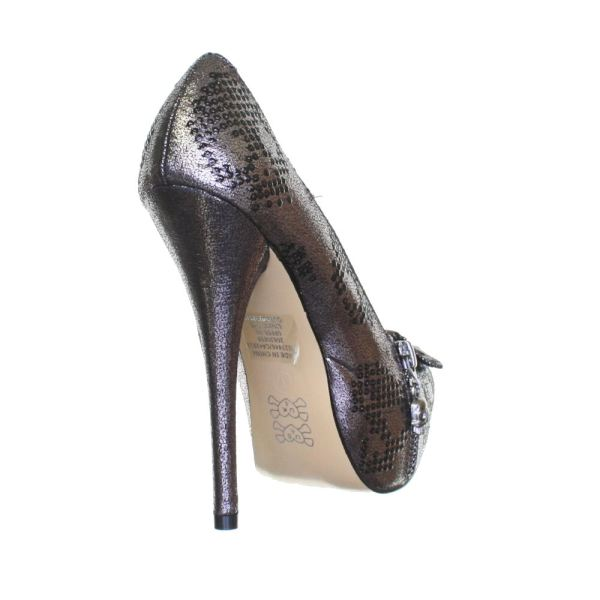 Platform Shoes Womens Iron Fist Ruff Rider Pewter Skull High Heels Size 5-10
