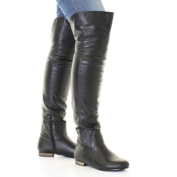 Women Black Leather Style Flat Over Knee Thigh High Pirate