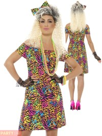 Ladies 80s Fancy Dress Costume Party Animal Neon Rave