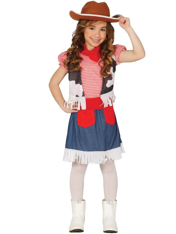 Girls Cowgirl Costume Childs Western Fancy Dress Kids Wild