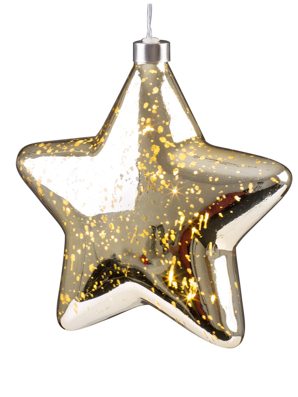 Light Up Christmas Crackle Glass Star LED Xmas Hangnig
