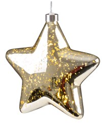 Light Up Christmas Crackle Glass Star LED Xmas Hangnig