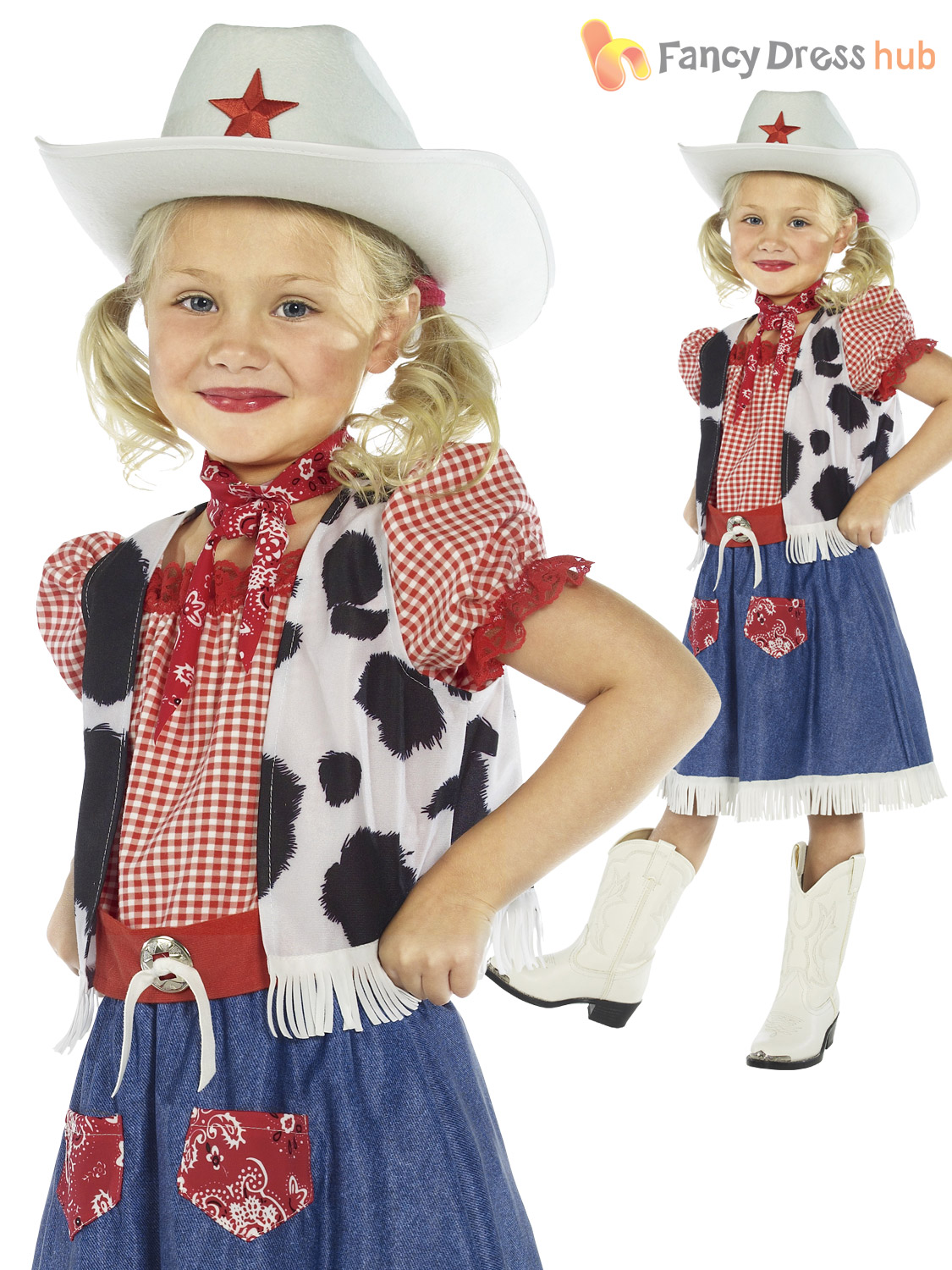 Girls Cowgirl Wild West Costume Jessie Cowboy Fancy Dress