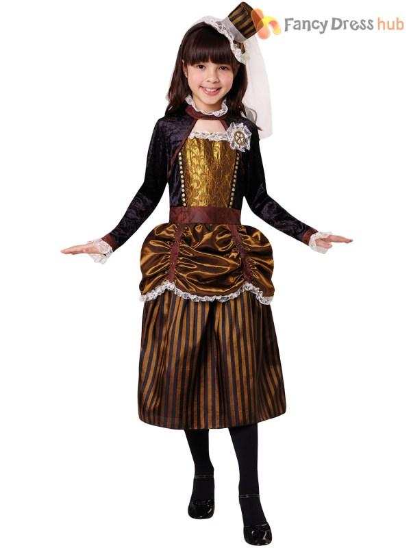 Girls Steampunk Costume Childs Victorian Halloween Fancy
