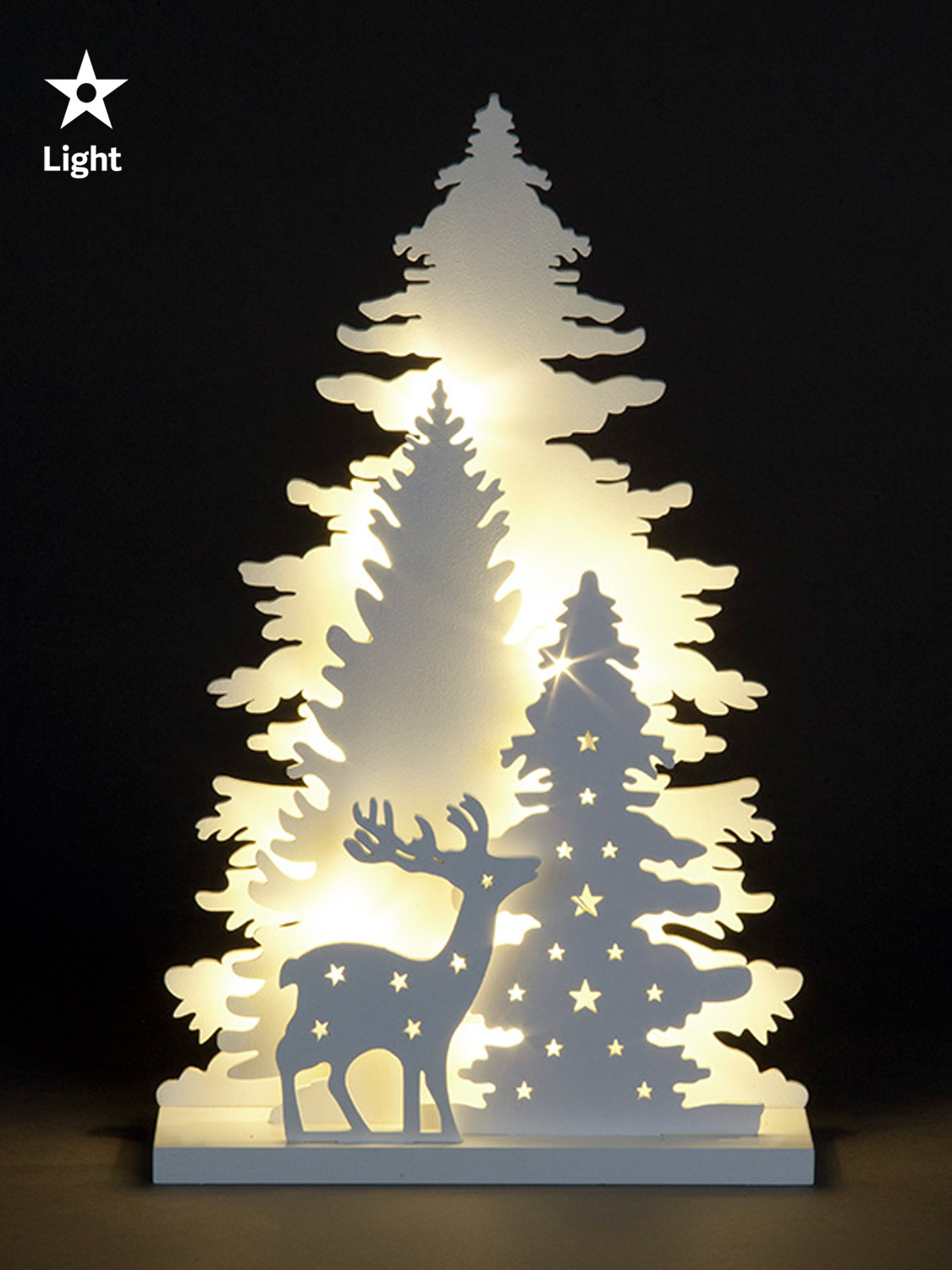 Wooden White Light Up Decorations Christmas LED Ornament