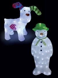 The Snowman + Snowdog Acrylic Light Up LED Outdoor Garden ...