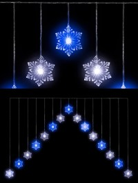 "Snowflake ""V"" Curtain Light 15 LED Christmas Window"