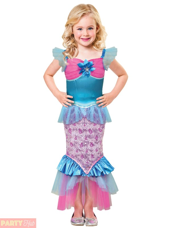 Girls Sparkle Little Mermaid Costume Childs Fancy Dress