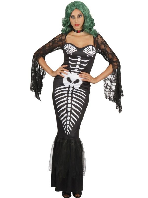 Ladies Skeleton Mermaid Costume Adults Halloween Day Of