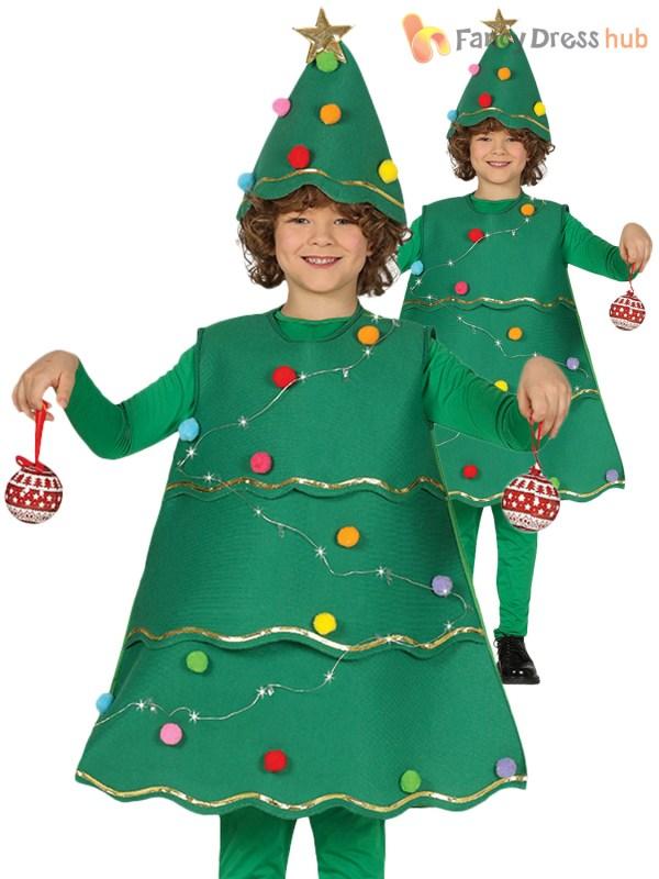 Kids Light Christmas Tree Costume Boys Girls Xmas Fancy