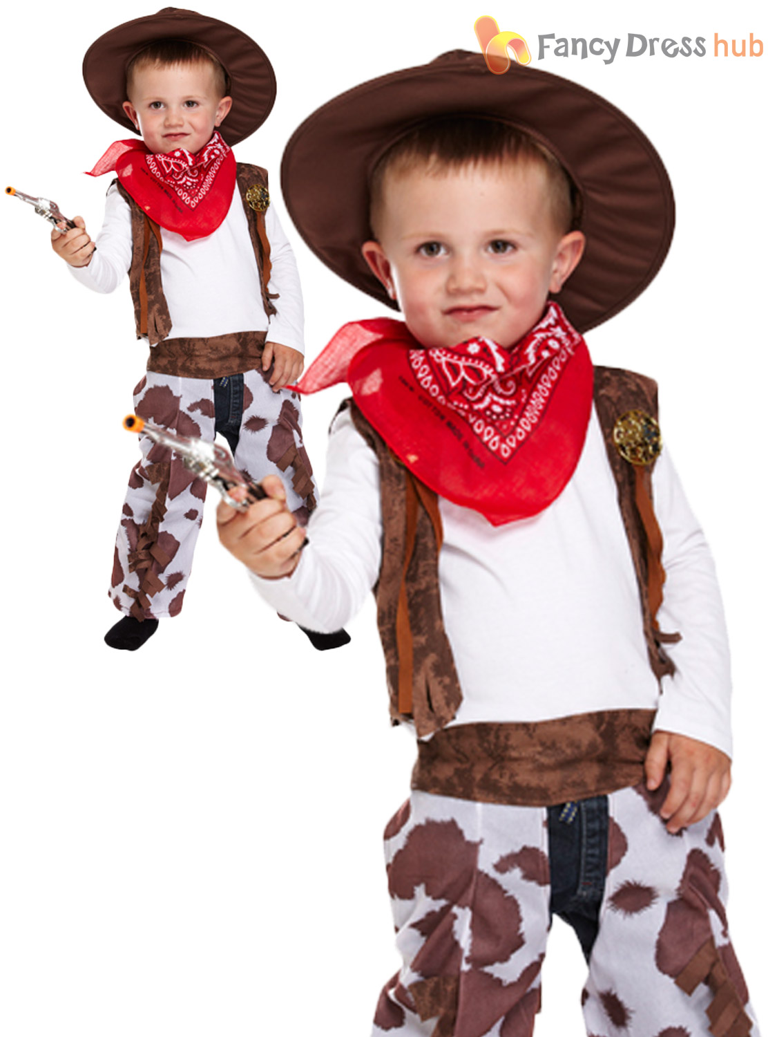 Boys Kids Cowboy Outfit Fancy Dress Costume Rodeo Wild