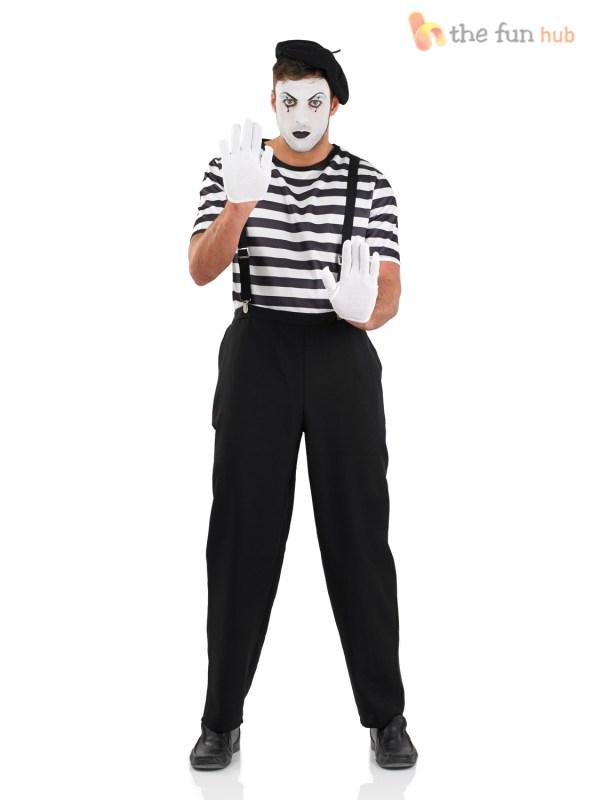 Mens Ladies Mime Artist Costume Black White Couple Circus