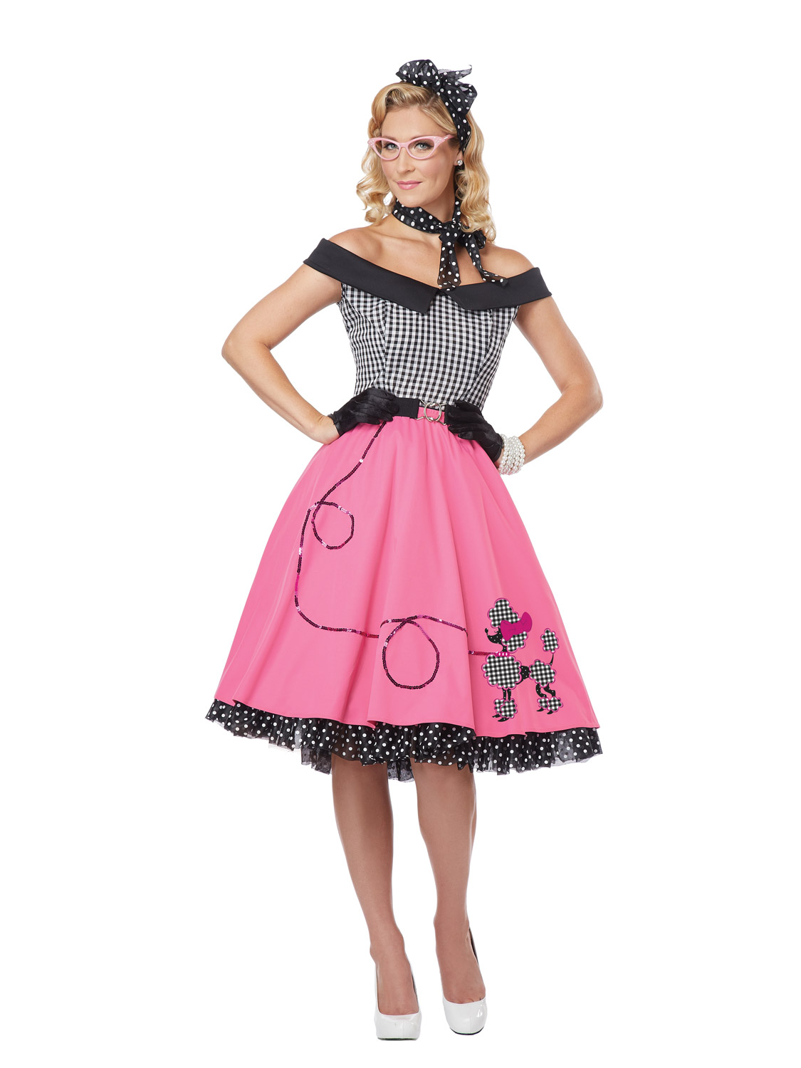 Ladies 50's Fancy Dress Costume Womens 1950s Rock And Roll Fifties