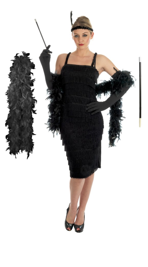 Ladies 1920s Flapper Costume Gloves Holder Boa Womens ...
