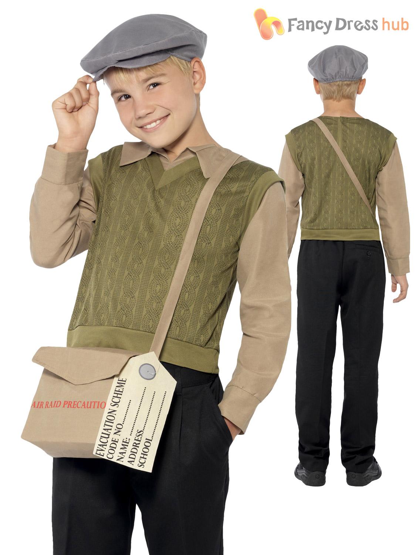Boys S Ww2 Evacuee Costume World War 2 40 S Kids Fancy